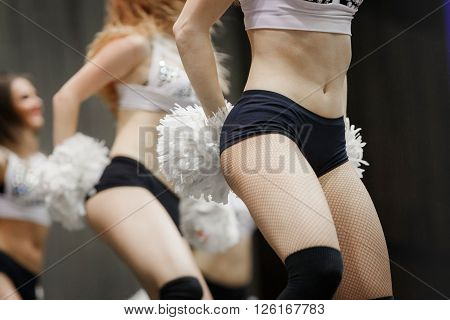 closeup of a young group of girls cheerleaders performance at competitions