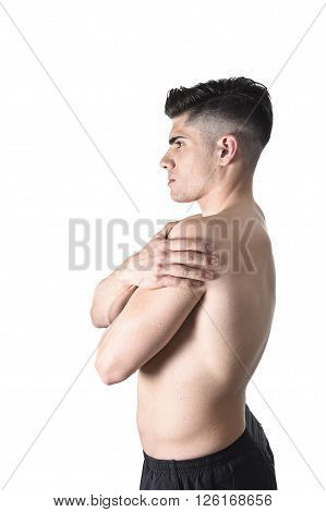 young muscular sport man holding sore shoulder with hand touching or massaging in workout stress body pain and health problem isolated on white background