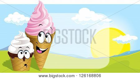 ice cream - cure vector cartoon on natural background