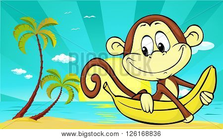 sunset on beach with palm and cute monkey and banana - vector illustration