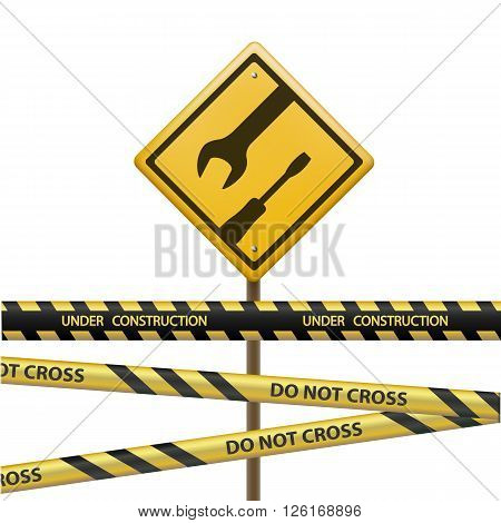 Metal sign under construction. Signal Tape with the inscription do not cross. Isolated on white background. Stock vector illustration.