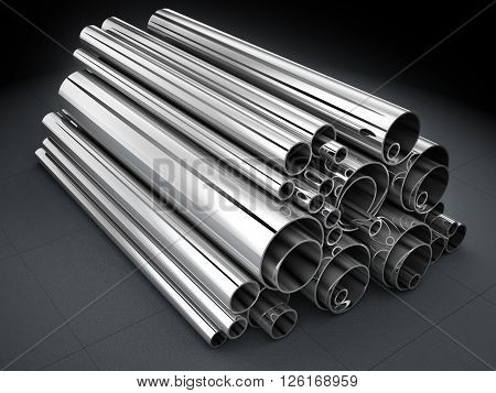 Many steel pipe metal-roll (done in 3d)