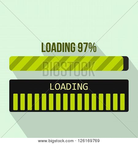 Progress loading bar icon in flat style on a light blue background