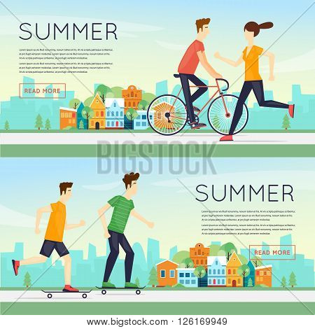 Physical activity people engaged in outdoor sports, running, cycling, skateboarding, summer. Flat design vector illustration. Banners.