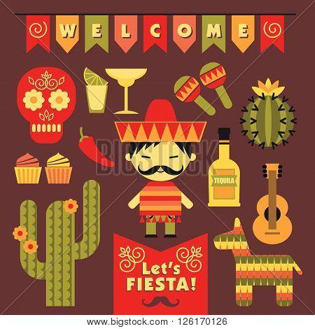 Vector set with traditional Mexican symbols. Cinco de Mayo. Let 's Fiesta!