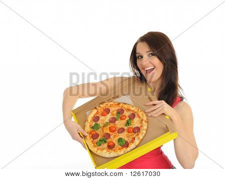 Pretty Young Casual Girl With Tasty Pizza In Delivery Paper Box. Isolated On White Background