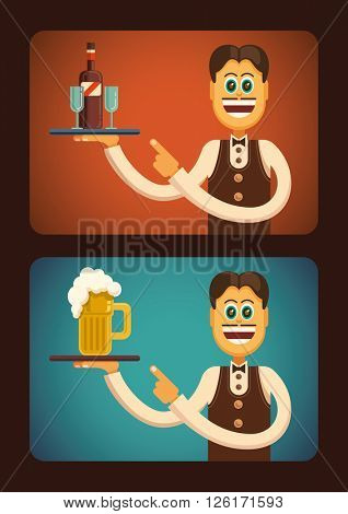 Comic waiter carrying a drink. Vector illustration.