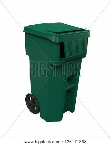Garbage Trash Bin isolated on white background. 3D render