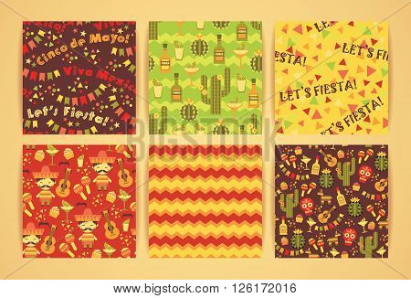 Set of vector seamless patterns with traditional Mexican symbols. Cinco de Mayo. Let 's Fiesta! Viva Mexico!