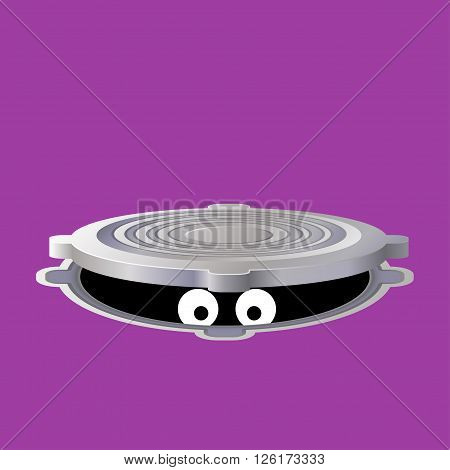 illustration of looking eyes from open metallic hatch