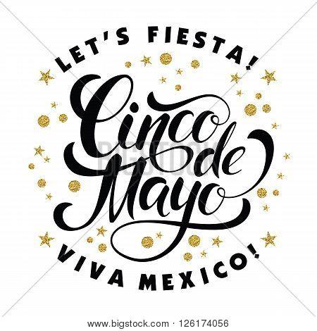 Cinco de Mayo glittering lettering design. Vector illustration