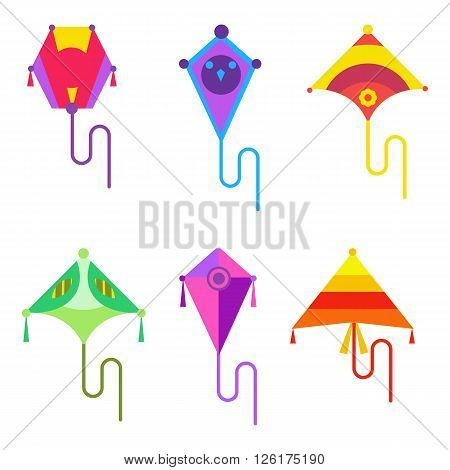 Vector illustration of kite set. Kites flying icon in flat style. Child's activities and play. Sky and wind, hobby and summer