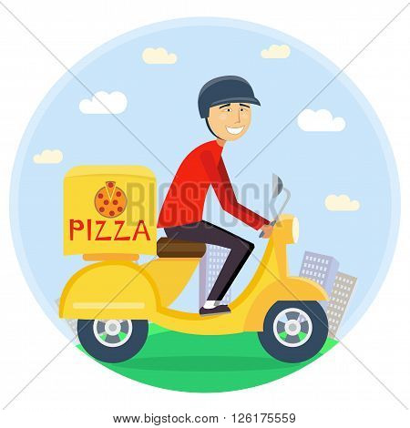Pizza or food delivery concept. Boy riding on scooter or motorcycle, delivering fastfood. Fast and free Transport. Free shipping, pizza restaurant service. vector flat cartoon illustration