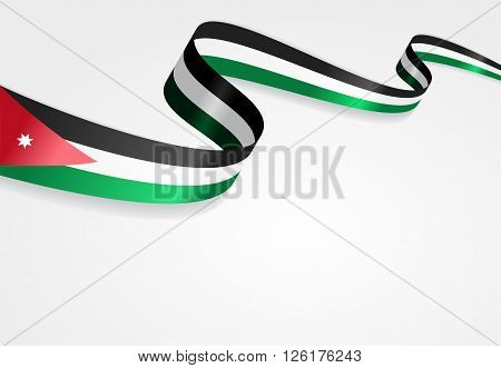 Jordan flag wavy abstract background. Vector illustration.
