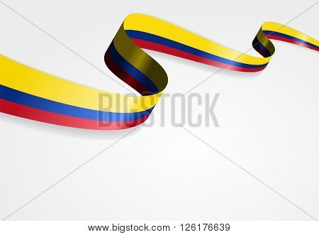 Colombian flag wavy abstract background. Vector illustration.