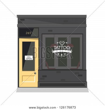Tattoo parlor facade,shop. Vector flat illustration. Isolated objects.