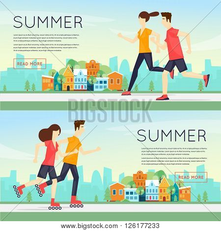 Physical activity people engaged in outdoor sports, running, roller skating, summer. Flat design vector illustration.