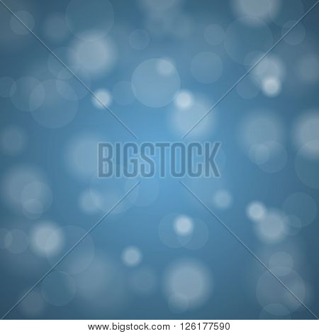 Abstract Blurred Background Of Sky Blue Shiny Christmas Tree Decorations. Vector Illustration