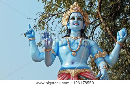 HYDERABAD,INDIA-APRIL 15:Idol of Hindu God Vishnu on lorry in the procession on Sri Rama Navami celebrations on April 15,2016 in Hyderabad,India.