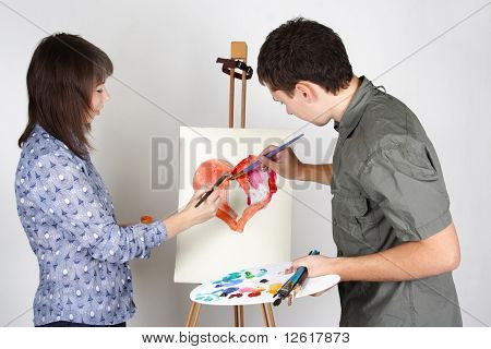 Man And Girl Holding Brushes And Palette, Painting Red Heart