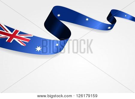 Australian flag wavy abstract background. Vector illustration.