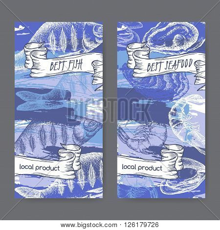 Set of two labels with fish and seafood on hand painted blue background. Great for markets, fishing, fish processing, canned fish, seafood product label design.
