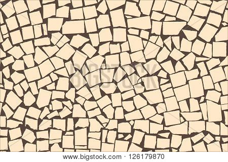 Vector Texture Of Ivory Asymmetric Decorative Tiles Wall. Vector Illustration