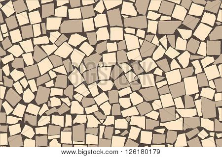 Vector Texture Of Ivory And Grey Two Colored Asymmetric Decorative Tiles Wall. Vector Illustration