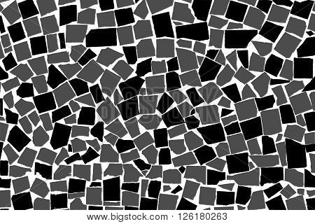 Vector Texture Of Black And White Asymmetric Decorative Tiles Wall. Vector Illustration