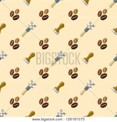 Vector Coffee Barista Seamless Pattern.