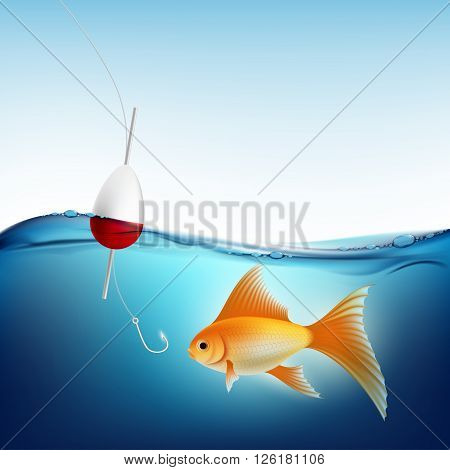 Goldfish in water and a fishing hook with a float. Stock vector illustration.