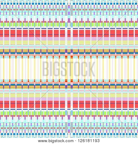 Colored Abstract Glitch Art Seamless Pattern.