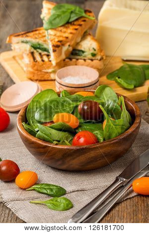Salad Made With Baby Spinach And Cherry Tomatoes