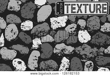 Vector Texture Of Black And White Stone Coquina Wall In Cement. Vector Illustration