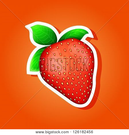 Icon strawberry. strawberry sticker. Vector illustration eps 10.