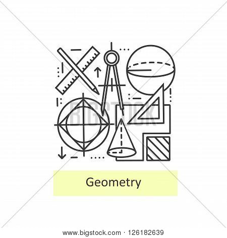 Modern thin line icons of geometry for school, university and training. Modern concept of a collection of vectors.