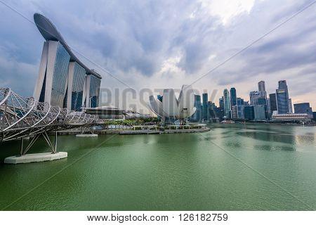 Singapore 10 Mar 2016: Beautiful night city view of Marina Bay area.