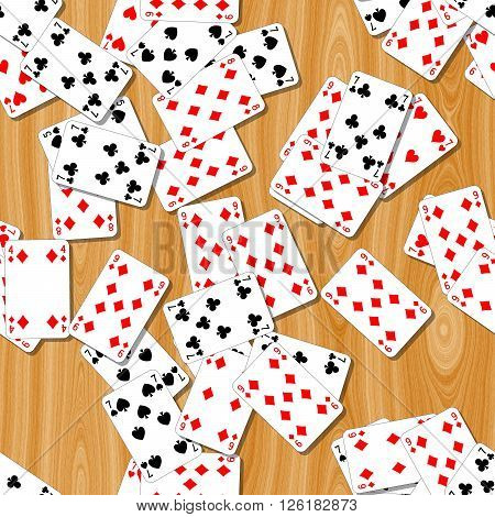 playing cards on the woody table seamless pattern texture background