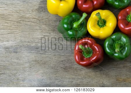 Colored bell peppers on wooden table , pepper, bell, mix, white,