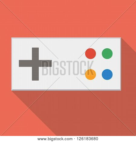 Gamepad on a red background made ??in flat design