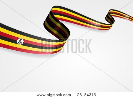 Ugandan flag wavy abstract background. Vector illustration.