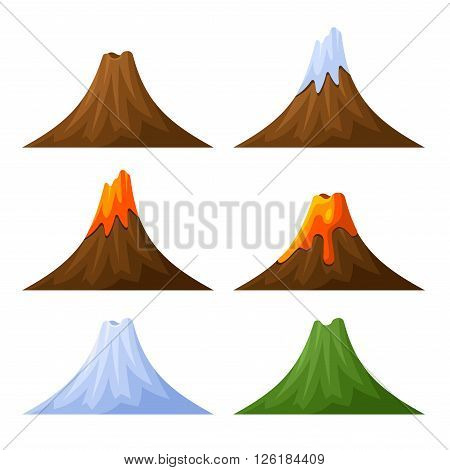 Mountain with Volcano, Forest and Snow Set. Vector illustration