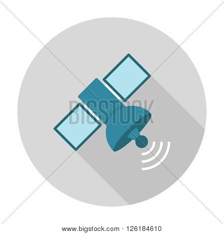 Satellite flat icon. Navigation satellite vector illustration