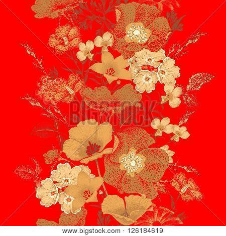 Seamless vector pattern of garden flowers in style of Chinese lacquer miniature. Flowers gold color on red background. Vintage. Design of flowers - oriental style. Flowers roses, bluebells, daisies.