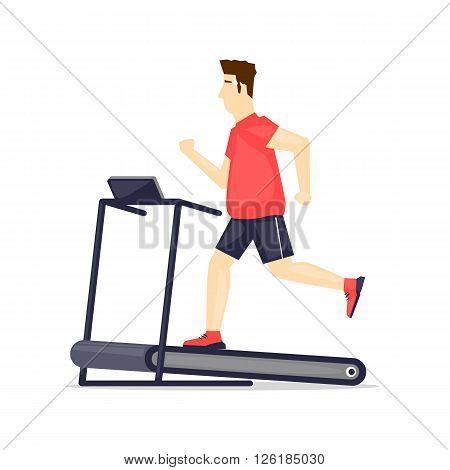 Young adult fat man running on treadmill, sport, fitness, athletics, healthy lifestyle. Cartoon. Vector illustration flat design.