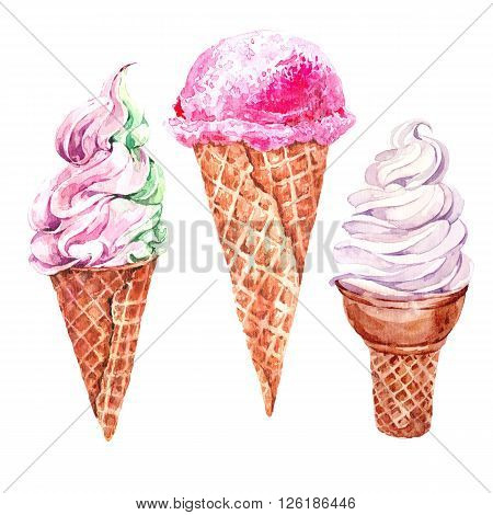 Set of watercolor ice cream, summer collection  food illustrations isolated on white, soft Italian fruit ice cream