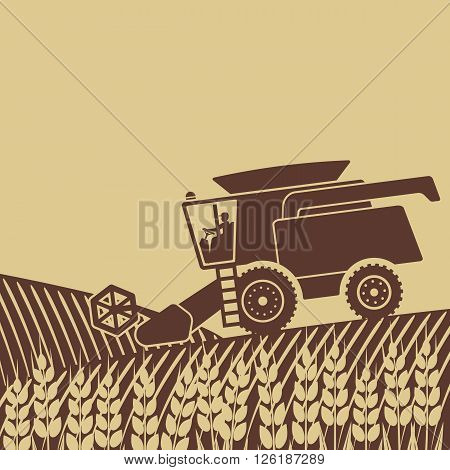 combine harvester in field - vector illustration. eps 8