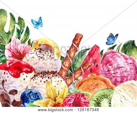 Tropical Natural Healthy Food Eco Banner with Balls of Ice Cream, Watermelon, Apricot, Kiwi, Vanilla and Berries, Exotic Menu Card