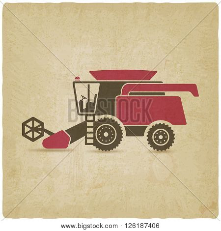 combine harvester farm machinery old background - vector illustration. eps 10