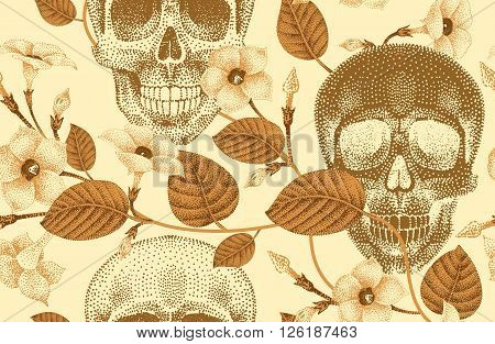 Pattern of human skulls and flowers seamless vector/Human skulls and devil's guts plant/Modern trend of gold foil print/Illustration death/Template for creating fashion design paper/wallpaper/textiles